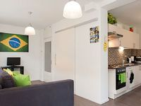 Compact and comfortable one-bedroom apartment with garden for up to four guests in the trendy and
